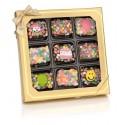 Birthday Chocolate Dipped Mini Crispy Rice Bars- Window Gift Box of 9