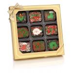 Christmas Chocolate Dipped Mini Crispy Rice Bars- Window Gift Box of 9