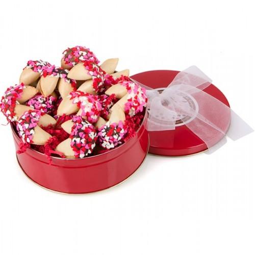 Heart Sprinkles Gourmet Fortune Cookies-Tin of 18