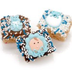 New Baby Boy Chocolate Dipped Mini Crispy Rice Bars- Individually Wrapped